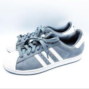 Adidas Superstar Grey Suede Shell Toe 11.5